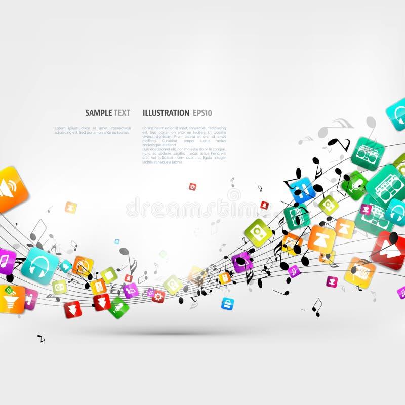 Абстрактная предпосылка музыки с примечаниями и значками приложения бесплатная иллюстрация