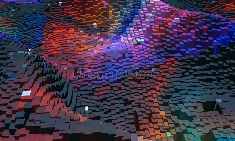 Абстрактная предпосылка, небольшой красочный блок в фиолетовом и голубом, 3D представляют иллюстрация вектора