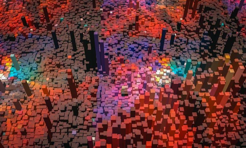 Абстрактная предпосылка, небольшой красочный блок со светом, 3D представляет бесплатная иллюстрация
