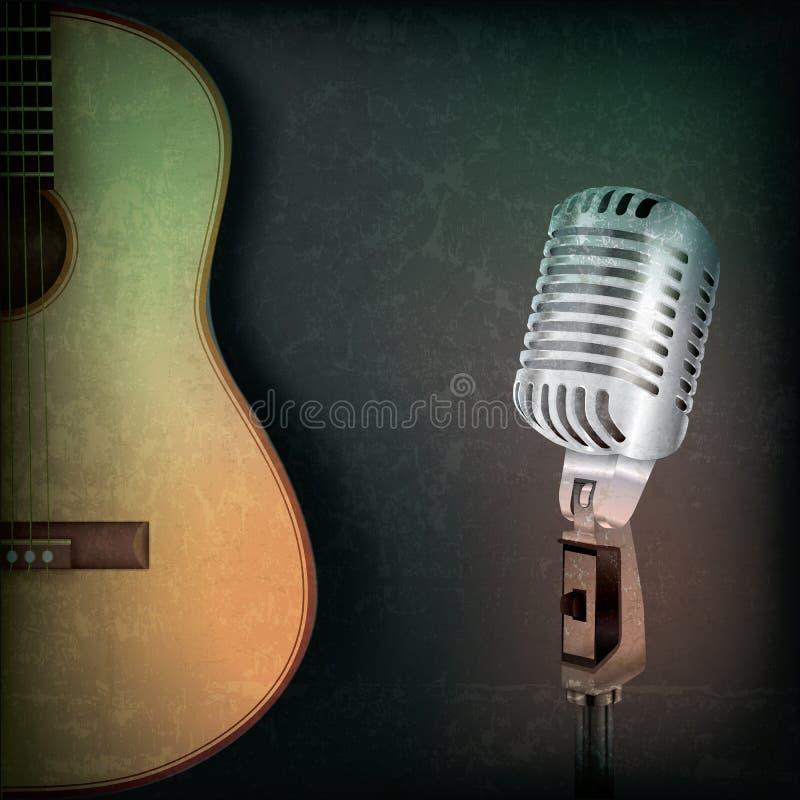 Абстрактная предпосылка нот с ретро микрофоном бесплатная иллюстрация