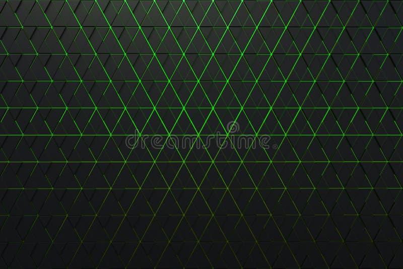 Абстрактная предпосылка полигональной формы с зелеными линиями иллюстрация вектора