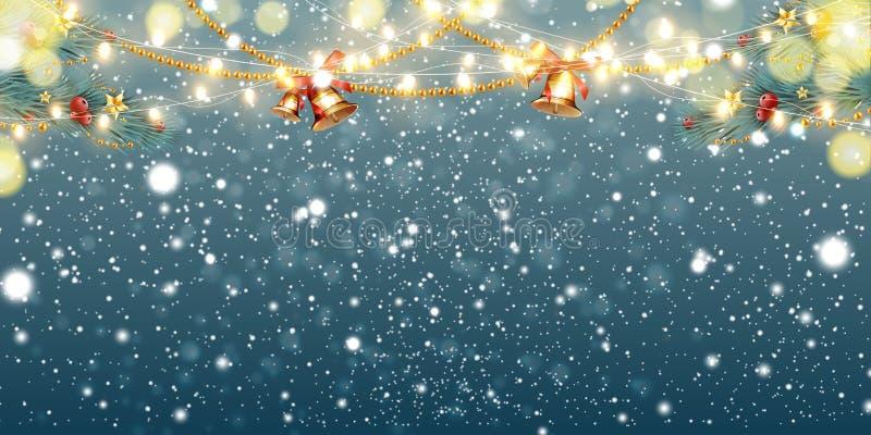 Абстрактная предпосылка рождества со светлыми гирляндами, ветвями ели, колоколами звона, снежинками и местом для текста праздничн иллюстрация штока
