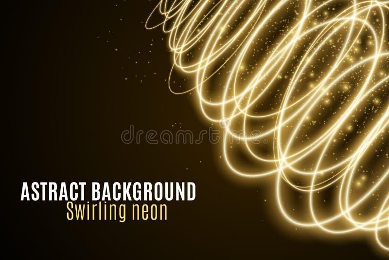 Абстрактная предпосылка светящих золотых волн неона Обои для вашего дизайна Круги волшебной пыли летания хаотические светлые Пере иллюстрация штока