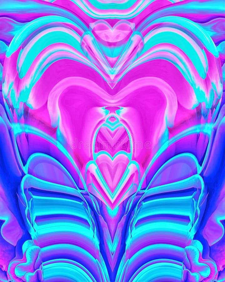 Абстрактная предпосылка силуэтов сердец, крыльев и линий голубых и розовых неоновых цветов иллюстрация вектора