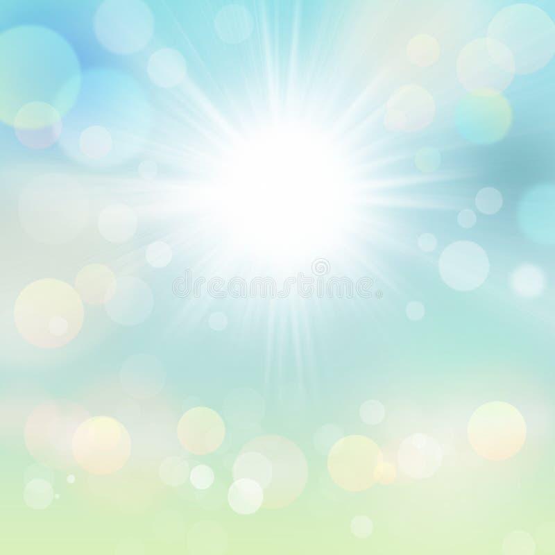 Абстрактная предпосылка Солнця лета весны нерезкости голубого зеленого цвета иллюстрация штока