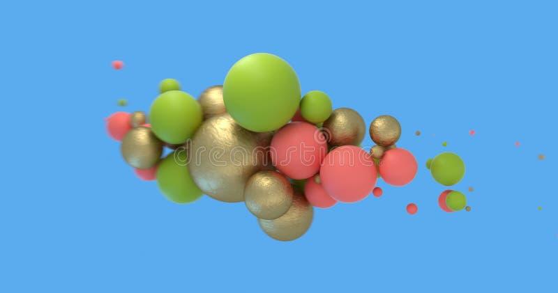 Абстрактная предпосылка со сферами коралла прожития, золотых и зеленых на сини Дизайн знамени продажи моды E стоковые изображения