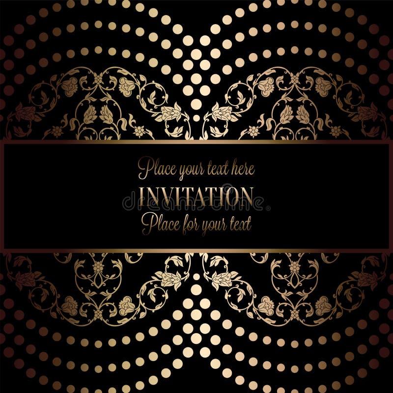 Абстрактная предпосылка с антиквариатом, роскошной чернотой и рамкой золота винтажной, викторианским знаменем, орнаментами флорис иллюстрация вектора