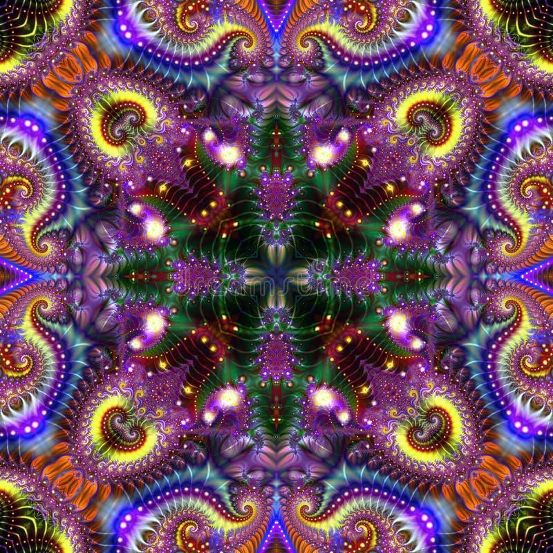 Абстрактная предпосылка с большим набором форм фрактали с самыми интересными и освещением иллюстрация штока