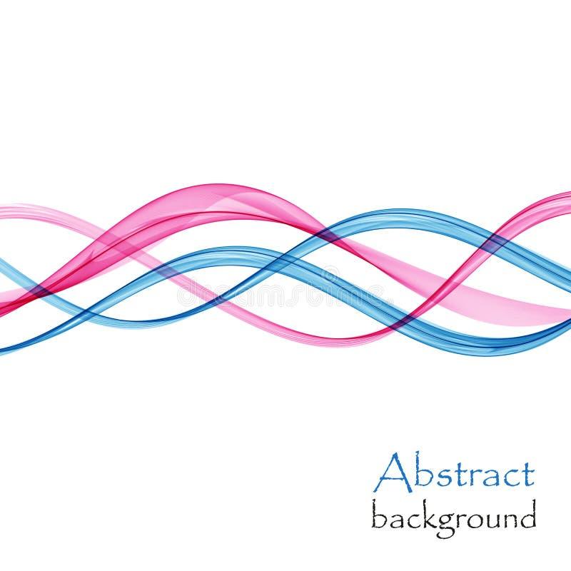 Абстрактная предпосылка с волнами сини и пинка прозрачного материала летания иллюстрация штока