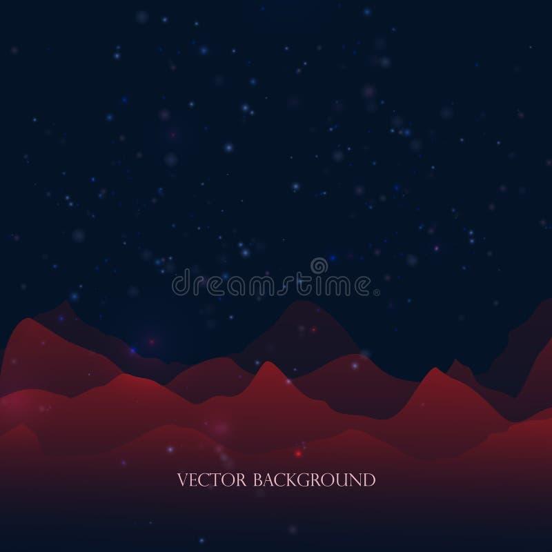 Абстрактная предпосылка с красными горами и bokeh Световой эффект, звезды, снег E иллюстрация штока