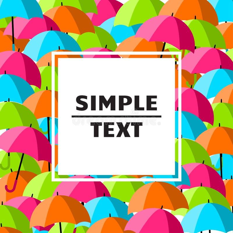 Абстрактная предпосылка с красочными зонтиками и белая рамка для вашего текста r иллюстрация вектора