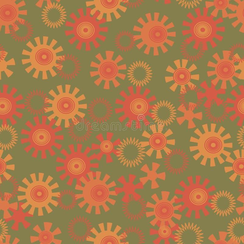 Абстрактная предпосылка с кругами и солнцами иллюстрация штока
