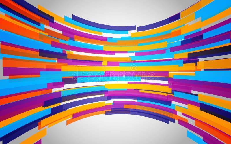 Абстрактная предпосылка с линиями согнутыми цветом Динамическая красочная волна Геометрические формы на сером фоне также вектор и бесплатная иллюстрация