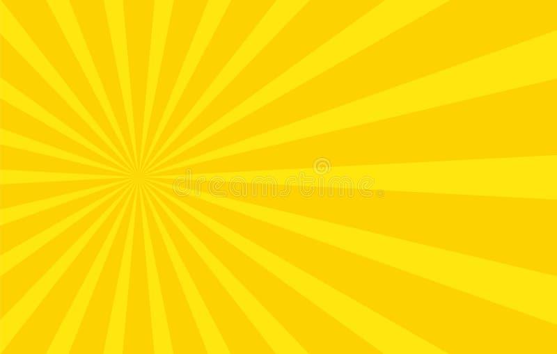 Абстрактная предпосылка с лучами шаржа желтого цвета шаблон иллюстрация вектора