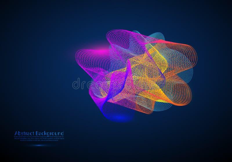 Абстрактная предпосылка с покрашенные динамические волны, линии и частицы также вектор иллюстрации притяжки corel иллюстрация вектора