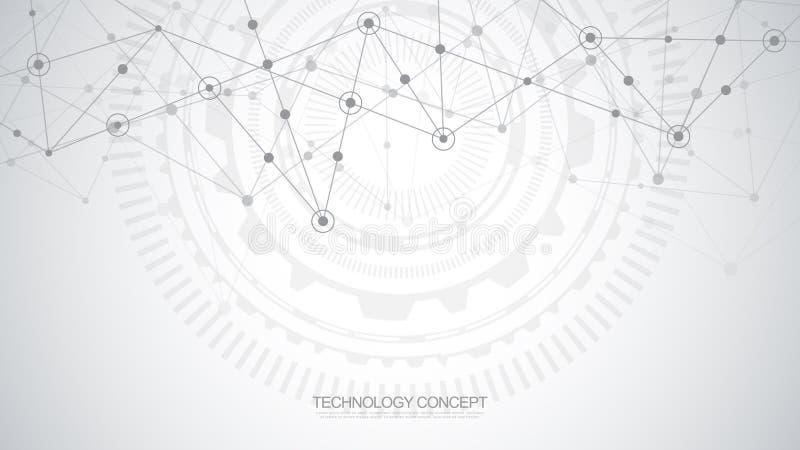 Абстрактная предпосылка с соединяясь точками и линиями Соединение глобальной вычислительной сети, цифровая технология и сообщение иллюстрация вектора