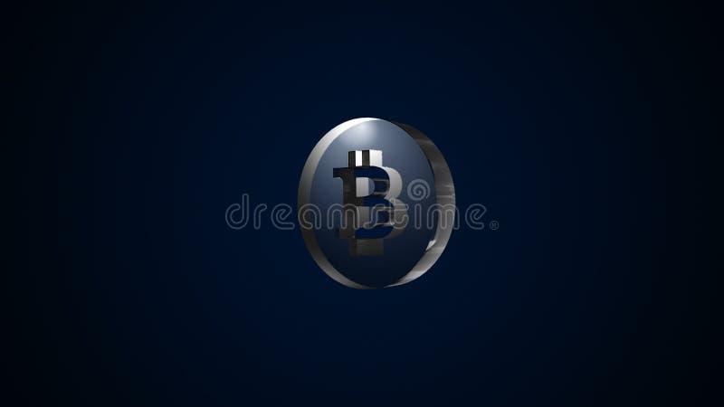 Абстрактная предпосылка с стеклянным знаком bitcoin цифровой фон иллюстрация вектора