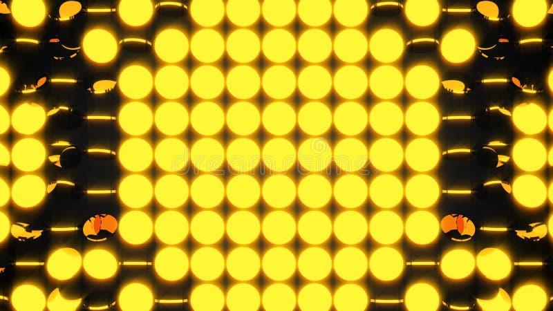 Абстрактная предпосылка с строками много желтых поворачивая монеток, 3d представляет фон, производить компьютера иллюстрация штока