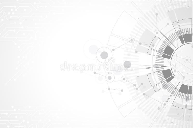 Абстрактная предпосылка с текстурой монтажной платы технологии Футуристический цифровой круг Сообщение и инженерство иллюстрация штока