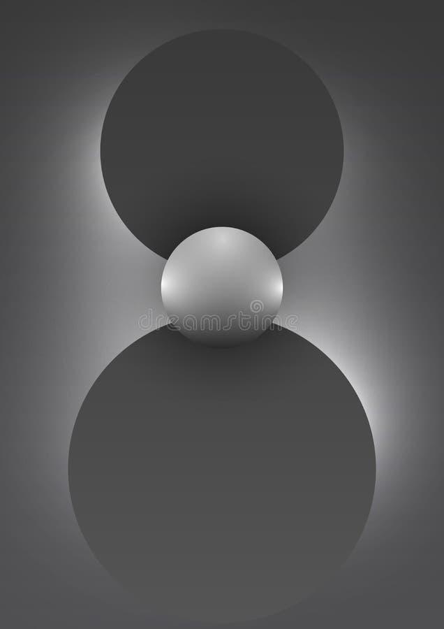 Абстрактная предпосылка с Черно-белыми геометрическими формами градиента в форме Солнца и лучей иллюстрация вектора
