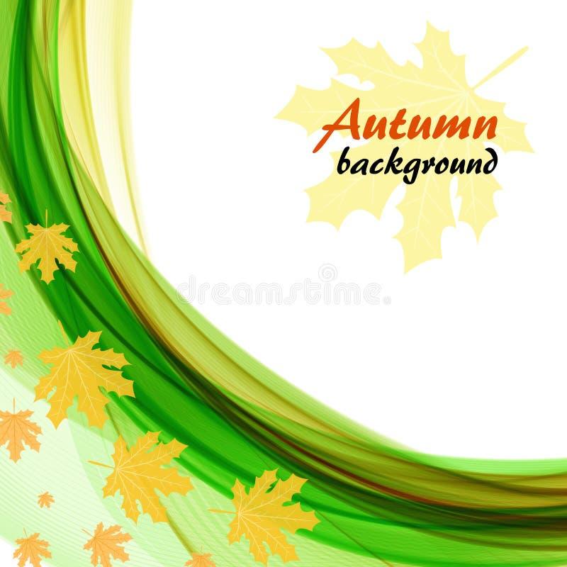 Абстрактная предпосылка с яркими ыми-зелен волнами и кленовыми листами на белой предпосылке бесплатная иллюстрация