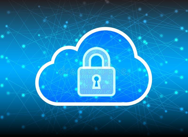 Абстрактная предпосылка технологии облака безопасностью, ключевой замок и coul иллюстрация вектора
