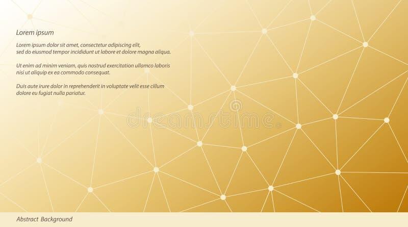 Абстрактная предпосылка треугольника вектора Золотая и бежевая полигональная картина сети иллюстрация вектора