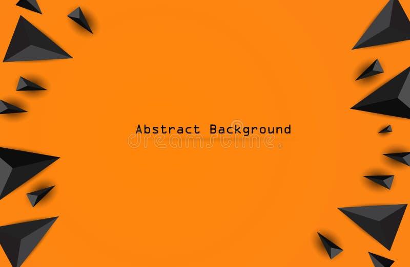 Абстрактная предпосылка треугольника треугольники 3D Современные обои на оранжевой предпосылке иллюстрация штока