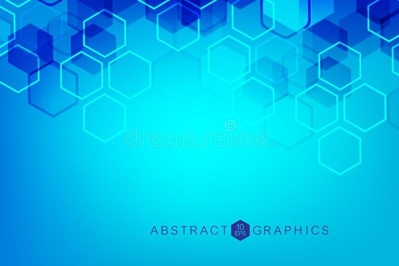 абстрактная предпосылка шестиугольная Большое визуализирование данных Соединение глобальной вычислительной сети Медицинский, техн иллюстрация вектора