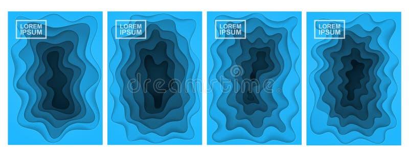 абстрактная предпосылка 3d Комплект 4 вариантов Слои отрезанные от бумаги бесплатная иллюстрация