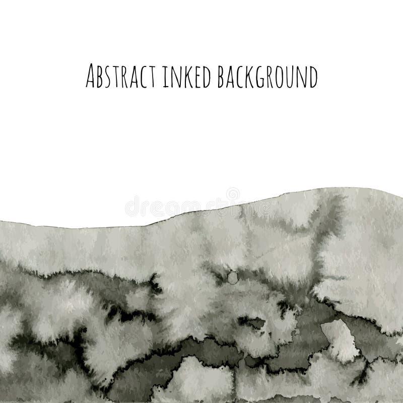 Абстрактная предпосылка вектора чернил на белизне Серая текстура акварели для вашего дизайна почерните землю бесплатная иллюстрация