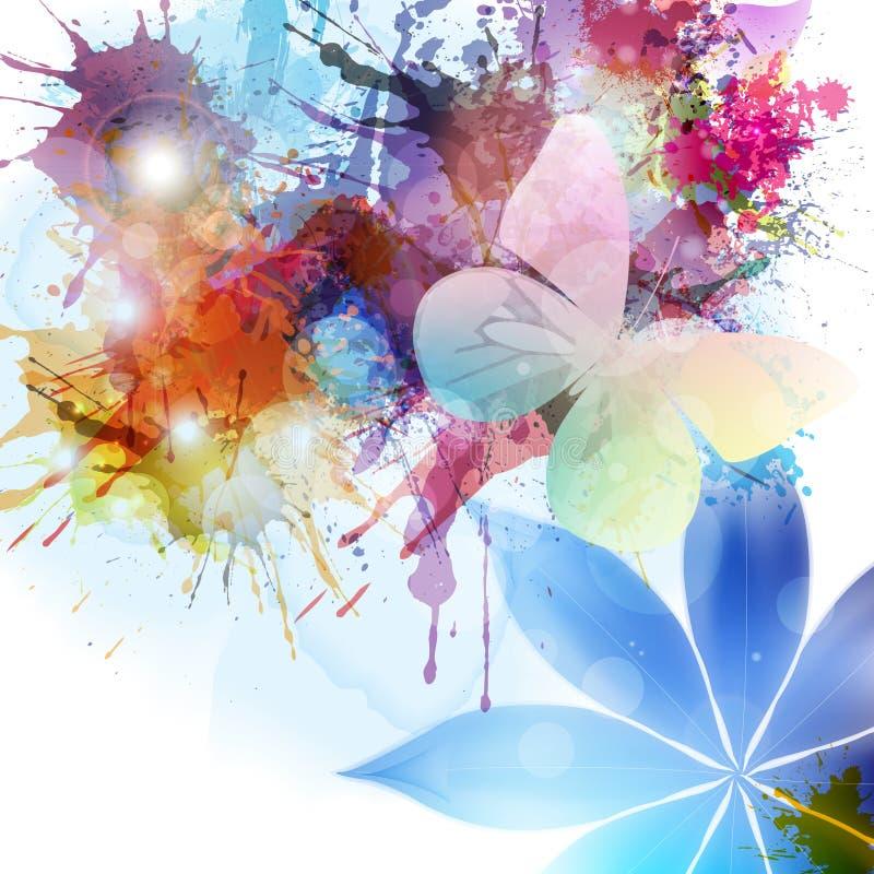 Абстрактная предпосылка в стиле grunge с цветком и бабочкой иллюстрация вектора