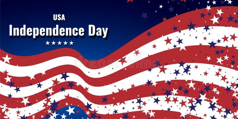 Абстрактная предпосылка в цветах американского флага Предпосылка темы Дня независимости или дня ветеранов иллюстрация вектора