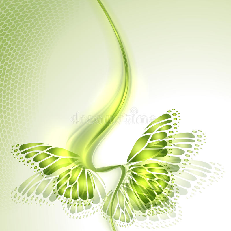 Абстрактная предпосылка зеленого цвета волны с бабочкой бесплатная иллюстрация