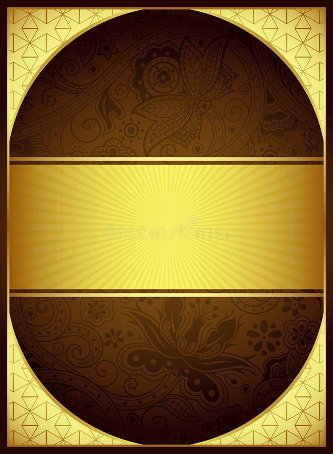 Абстрактная предпосылка золота и Брайна флористическая иллюстрация штока