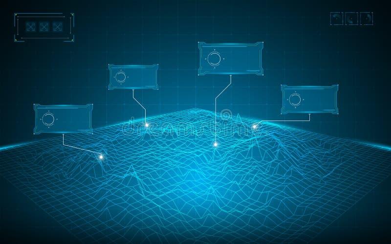 Абстрактная предпосылка концепции цифровой технологии ландшафта решетки wireframe иллюстрация вектора
