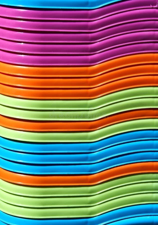 Абстрактная предпосылка красочных пластичных корзин стоковая фотография rf