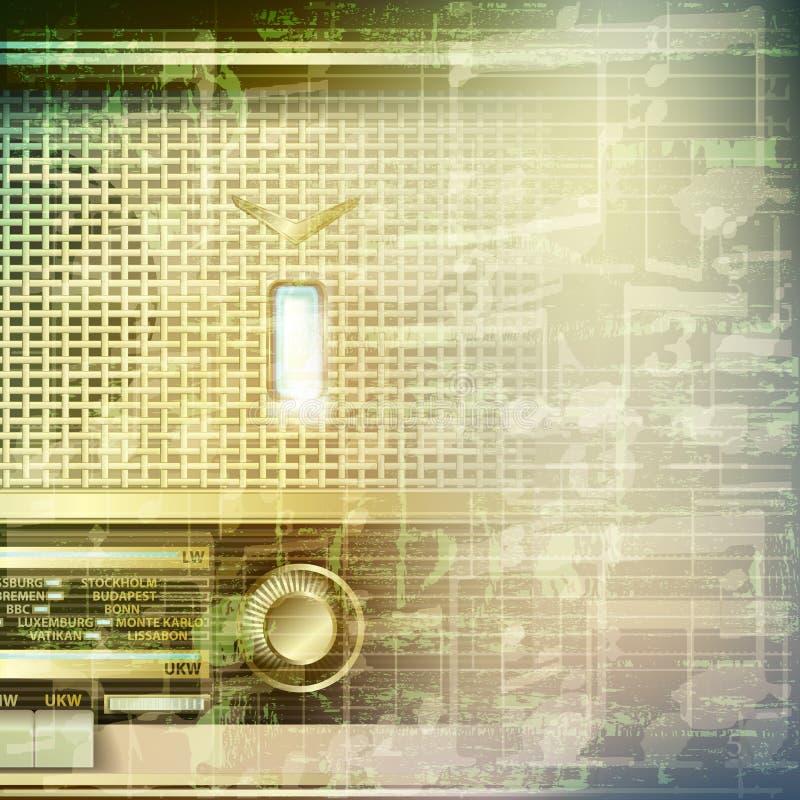 Абстрактная предпосылка музыки grunge с ретро радио иллюстрация штока