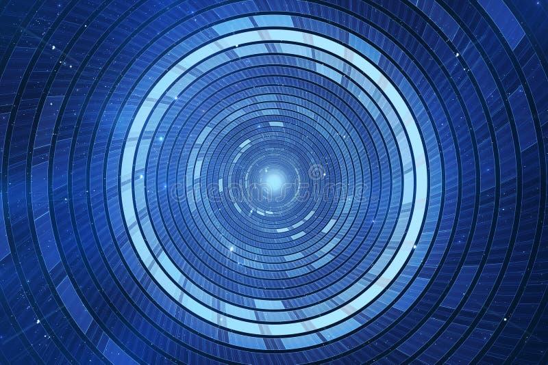 абстрактная предпосылка научной фантастики 3D футуристическая иллюстрация вектора
