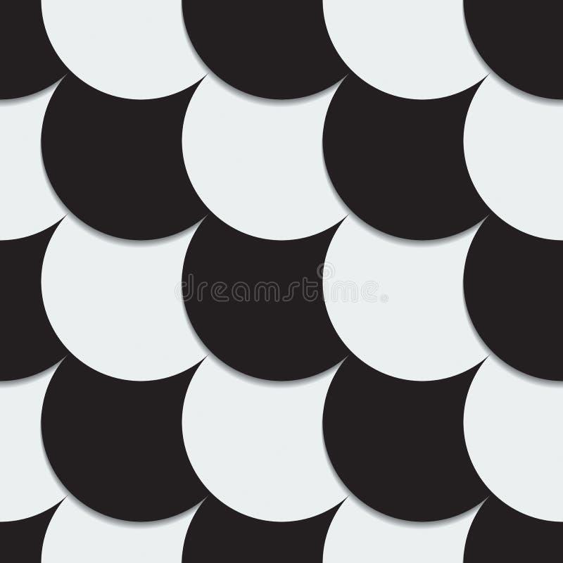 Абстрактная предпосылка от черно-белых кругов иллюстрация вектора