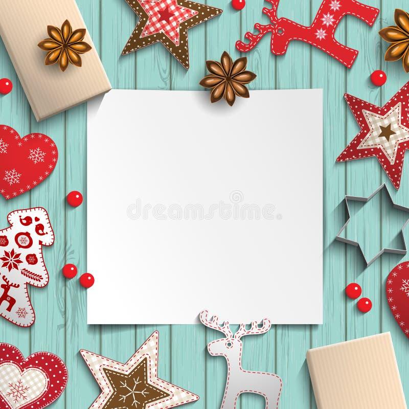 Абстрактная предпосылка рождества, белый лист бумаги лежа среди малых скандинавских введенных в моду украшений на деревянном стол иллюстрация вектора