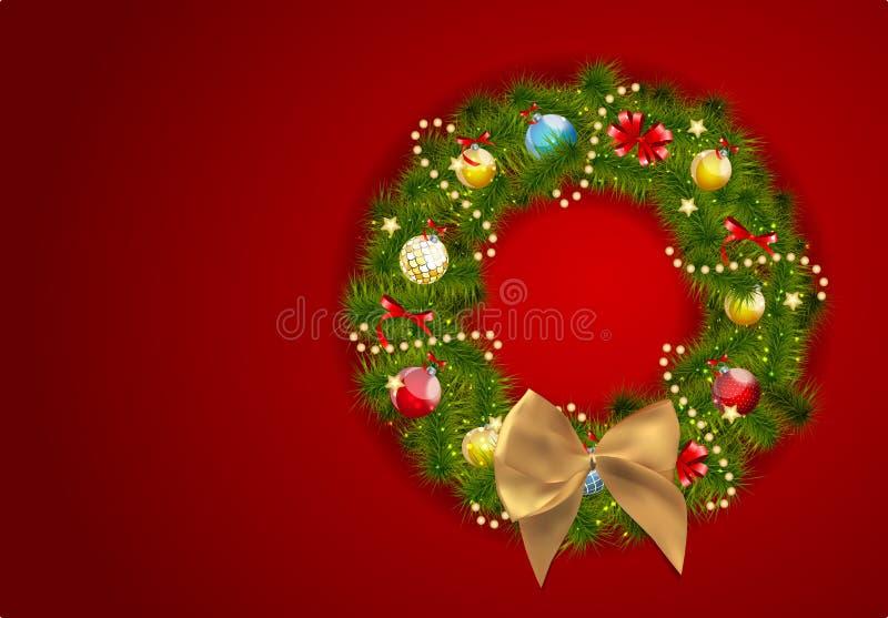 Абстрактная предпосылка рождества и Нового Года красоты с венком V иллюстрация штока