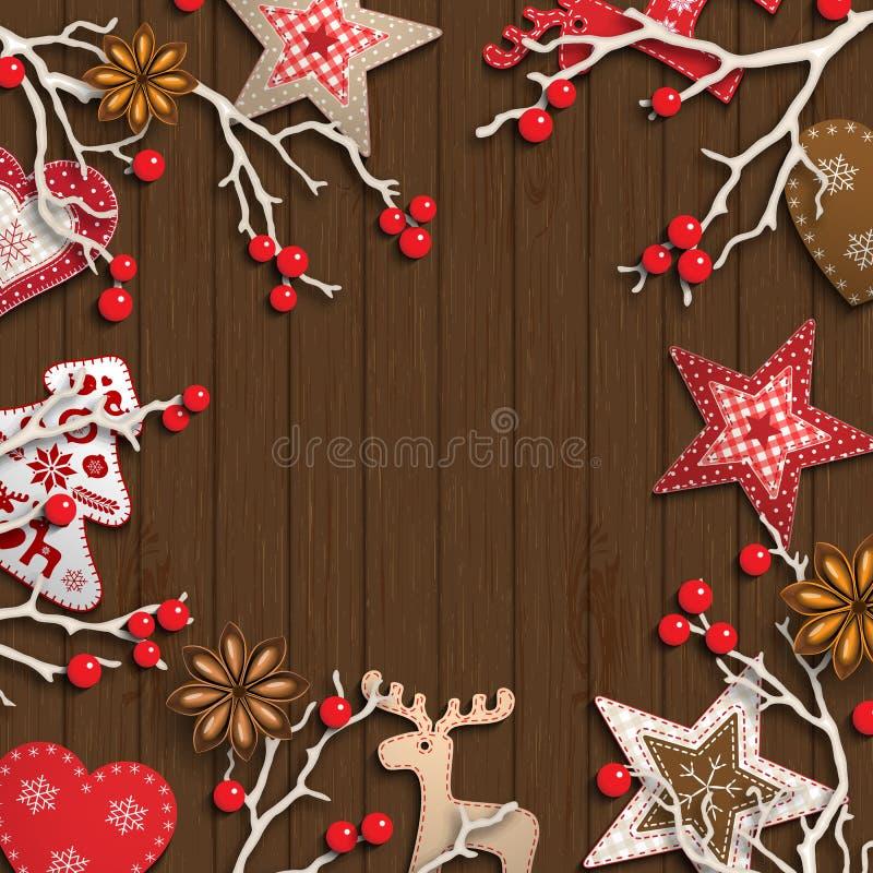 Абстрактная предпосылка рождества, сухие ветви с красными ягодами и малые скандинавские введенные в моду украшения лежа на деревя бесплатная иллюстрация