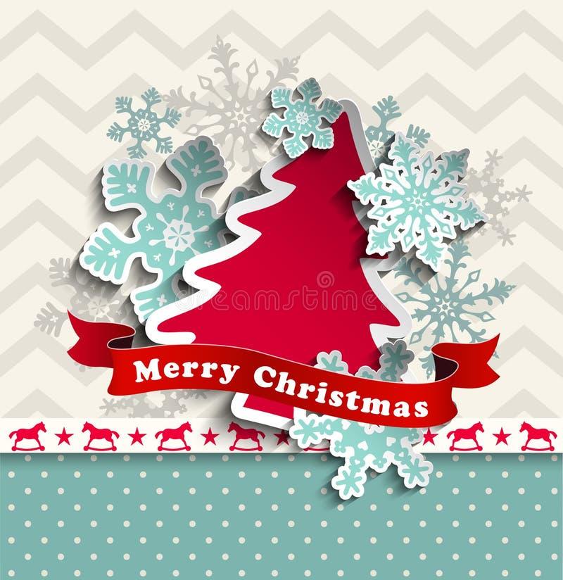 Абстрактная предпосылка рождества с декоративным деревом иллюстрация вектора