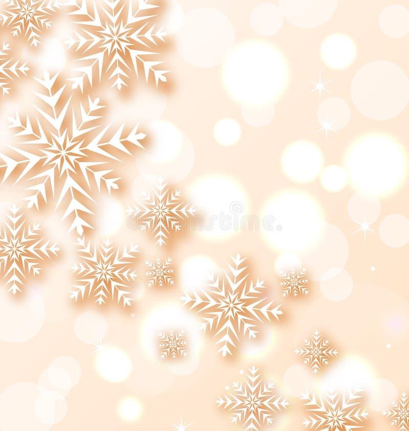 Абстрактная предпосылка света рождества с снежинками иллюстрация штока