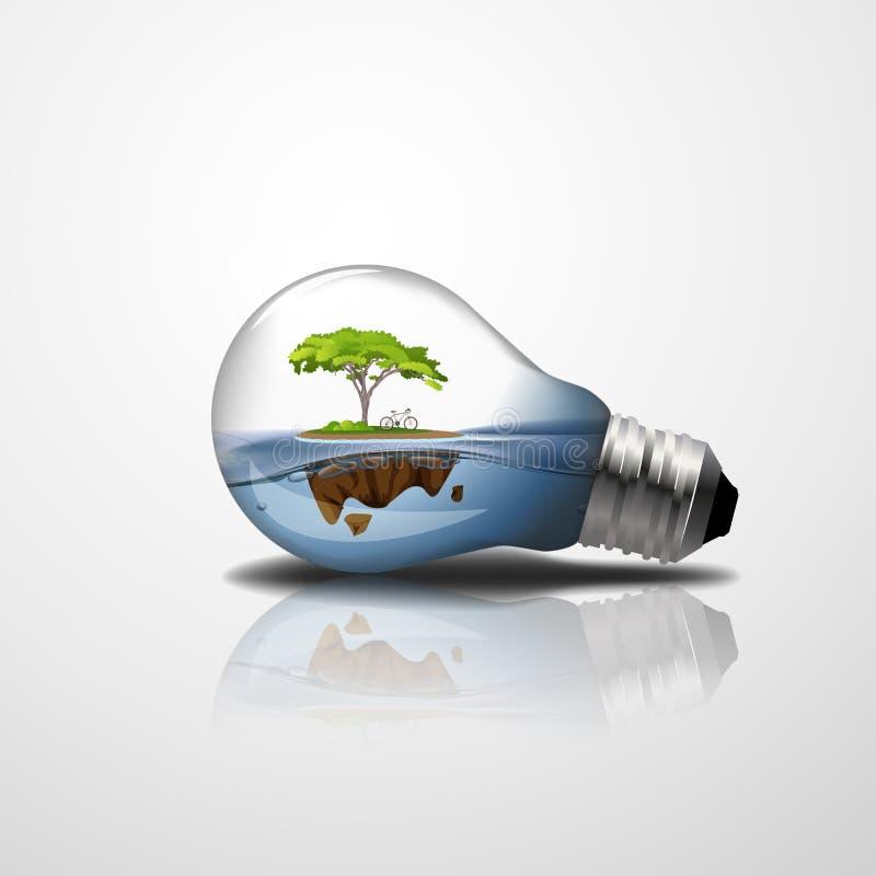 абстрактная предпосылка Светлая лампа с островом внутрь Дерево и велосипед на волне воды иллюстрация 3d иллюстрация штока
