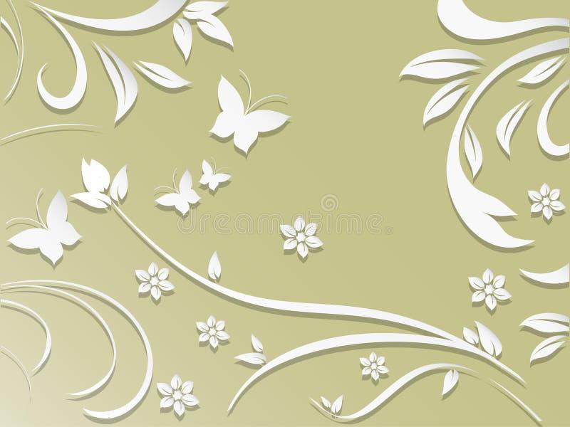 Абстрактная предпосылка с бумажными цветками и бабочками иллюстрация штока
