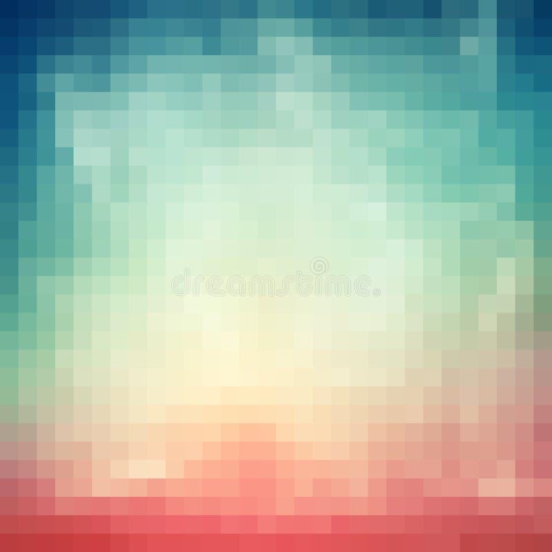 Абстрактная предпосылка с голубыми, белыми и розовыми пикселами иллюстрация штока