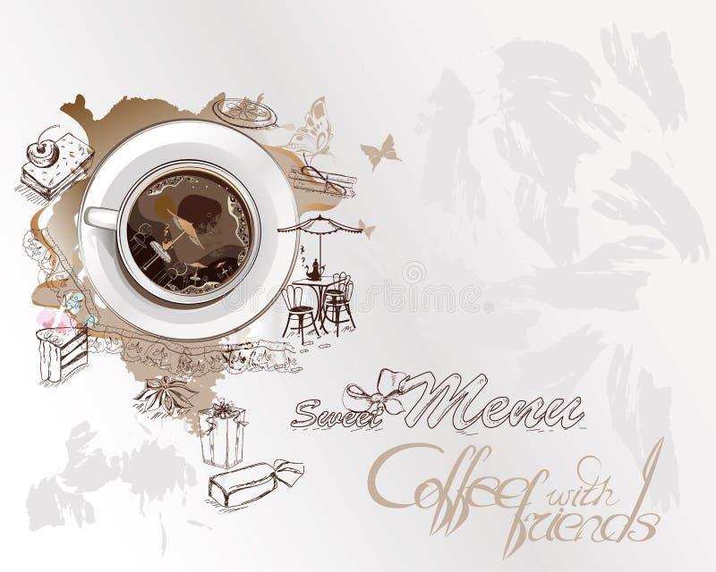 Абстрактная предпосылка с кофейной чашкой иллюстрация вектора