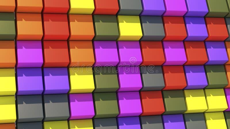 Абстрактная предпосылка с кубами других цветов иллюстрация штока